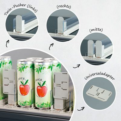 Der Twin-Pushersorgt einerseits dafür, dass Ware nach vorne geschoben wird. Zum anderen sorgt das Tool für Ordnung am Regal.